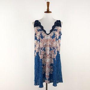Free People Blue Black Morning Sun Slip Mini Dress